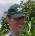 Peter Berti in a maize demonstration field, April 2005.
