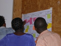 Workshop participants examine each others\' successes and challenges written on sticky notes.